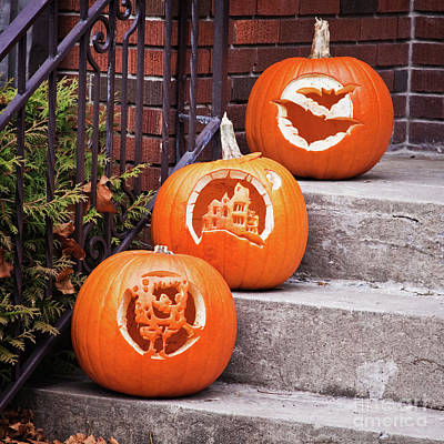 Photograph - Carved Pumpkins For Autumn Holidays by Tatiana Travelways