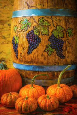 Photograph - Carved Wine Barrel And Pumpkins by Garry Gay