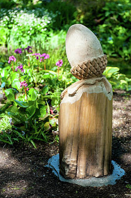 Photograph - Carved Wooden Acorn Sculpture by Helen Northcott