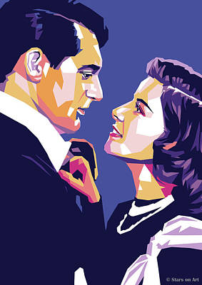 Line Drawing Quibe - Cary Grant and Katharine Hepburn by Stars on Art