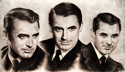 Drawing - Cary Grant Sepia  by Andrew Read