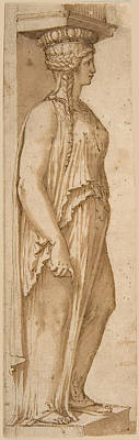 Drawing - Caryatid Facing Right by Attributed to Pirro Ligorio