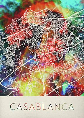 Casablanca Wall Art - Mixed Media - Casablanca Morocco Watercolor City Street Map by Design Turnpike
