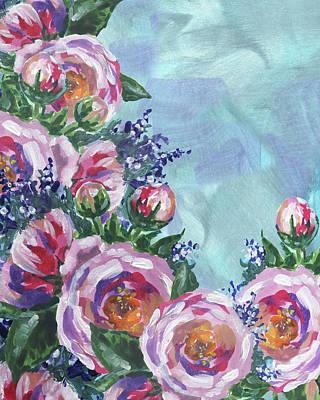Painting - Cascade Of Pink Flowers Impressionism  by Irina Sztukowski