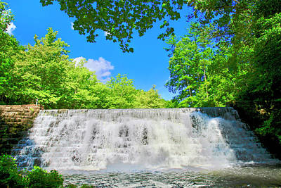 Photograph - Cascading Waterfalls Over Weir Dam Blue Ridge Parkway Virginia by James B Roney