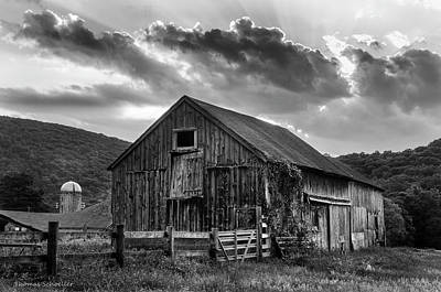 Photograph - Casey's Barn - Monochrome by Expressive Landscapes Fine Art Photography by Thom