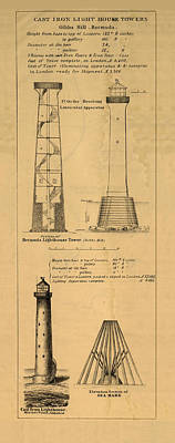 Drawings Royalty Free Images - Cast Iron Lighthouses Royalty-Free Image by Jerry McElroy