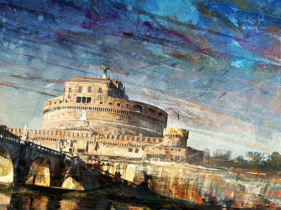 Surrealism Royalty-Free and Rights-Managed Images - Castel SantAngelo by Andrea Gatti