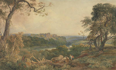 Drawing - Castle Above A River, Woodcutters In The Foreground by Peter De Wint