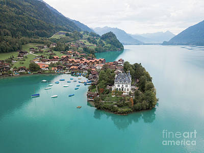 Photograph - Castle Aerial Photo Lake Brienz Switzerland by Christy Woodrow