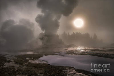 Photograph - Castle Geyser Sunrise - Yellowstone National Park by Sandra Bronstein