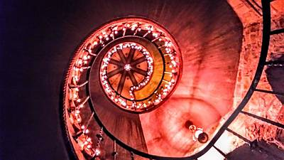 Photograph - Castle Lit Winding Staircase by Lisa Bunsey