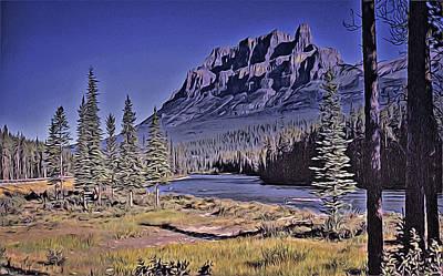 Digital Art - Castle Mountain by Richard Farrington