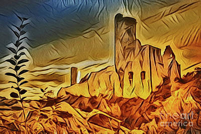 Painting - Castle Ruins A18-5 by Ray Shrewsberry