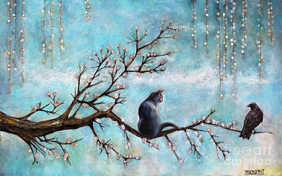 Painting - Cat And Crow by Manami Lingerfelt