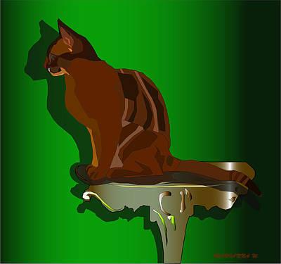 Digital Art - Cat and Silence by Marianna MO Warr