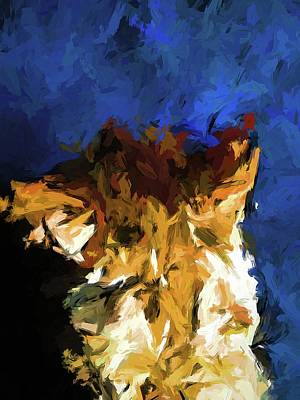 Painting - Cat And The Cobalt Blue Wall by Jackie VanO