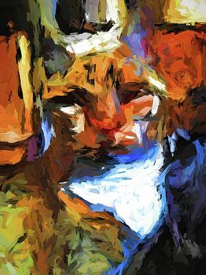 Painting - Cat Behind Cat In The Kitchen by Jackie VanO