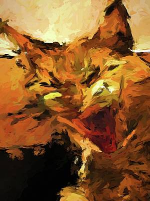 Painting - Cat Cathartic Scream by Jackie VanO