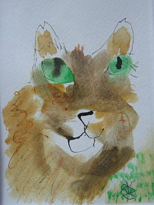 Drawing - Cat Face Yellow Brown With Green Eyes by AJ Brown