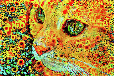 Digital Art - Cat In A Field Of Sunflowers by Peggy Collins