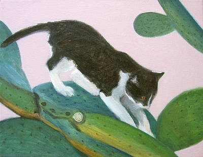 Painting - Cat On Cactus by Kazumi Whitemoon