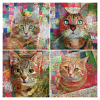 Digital Art - Cat Patchwork Quilt - 4 Blocks by Peggy Collins