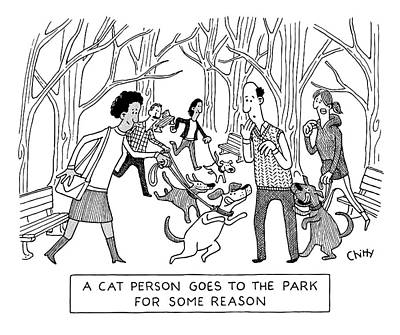 Drawing - Cat Person Inthe Park by Tom Chitty