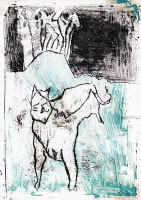 Painting - Cat Scene 6 by Artist Dot