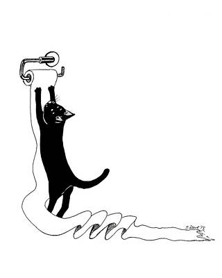 Drawing - Cat Vs Toilet Paper by Shawna Rowe