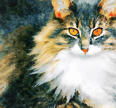 Watercolor Pet Portraits Digital Art - Cat With Orange Eyes by Leon Woods