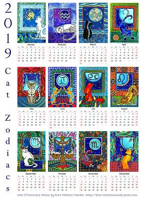 Painting - Cat Zodiacs Calendar by Dora Hathazi Mendes