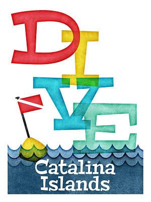 Catalina Wall Art - Digital Art - Catalina Islands Dive - Colorful Scuba by Flo Karp