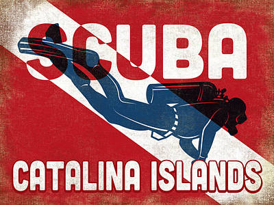 Catalina Wall Art - Digital Art - Catalina Islands Scuba Diver - Blue Retro by Flo Karp