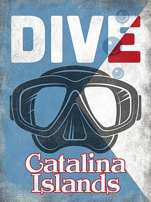 Catalina Wall Art - Digital Art - Catalina Islands Vintage Scuba Diving Mask by Flo Karp