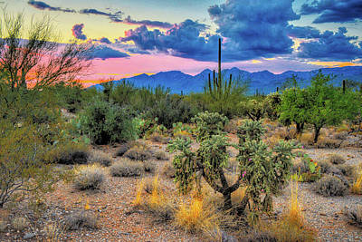 Abstract Works - Catalina Mountains and Sonoran Desert Twilight  by Chance Kafka