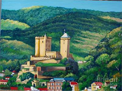 Painting - Cathar Foix Castle, France by Jean Pierre Bergoeing
