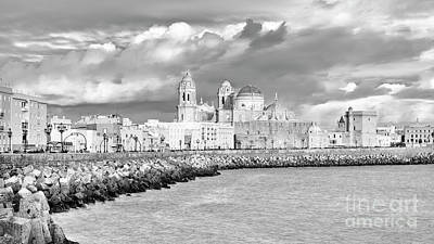 Photograph - Cathedral From Southern Field Cadiz Spain Black And White by Pablo Avanzini