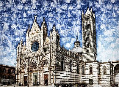 Painting - Cathedral Of Santa Maria Assunta, Siena - 01 by Andrea Mazzocchetti
