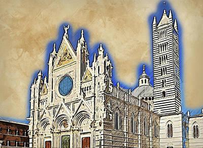 Painting - Cathedral Of Santa Maria Assunta, Siena - 07 by Andrea Mazzocchetti