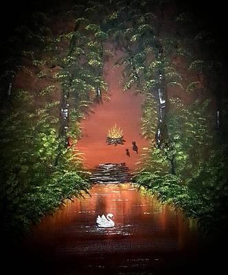 Nirvana - Cats camping fun dark by Angela Whitehouse