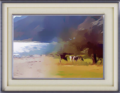 Mixed Media - Cattle Grazing By The Lake by Clive Littin
