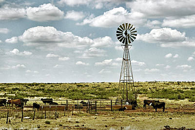 Photograph - Cattle Ranch Watering Windmill by Bill Swartwout Fine Art Photography