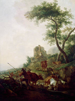 Painting - Cattle Watering By Unknown Artist by Superstock