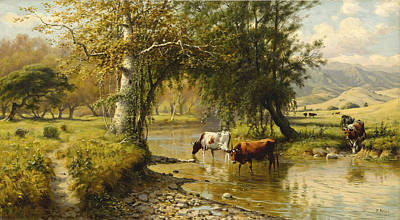 Painting - Cattle Watering Under An Oak Tree by Thaddeus Welch