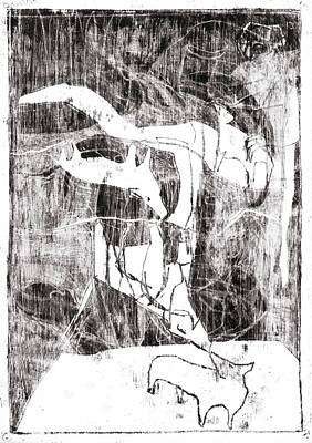 Drawing - Cave Dogs by Artist Dot
