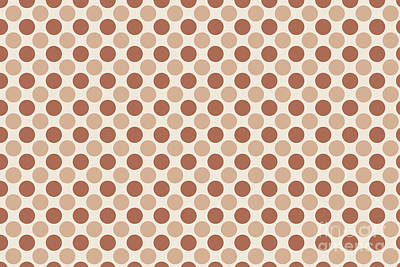 Caravaggio - Cavern Clay SW 7701 and Ligonier Tan SW 7717 Uniform Large Polka Dot Pattern 1 on Creamy Off White by Melissa Fague