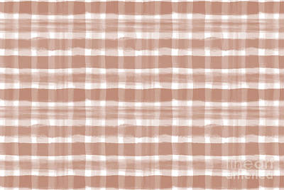 Antlers - Cavern Clay SW 7701 Watercolor Brushstroke Plaid Pattern on White by Melissa Fague