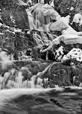Photograph - Cedar Creek Falls Black And White by Leland D Howard
