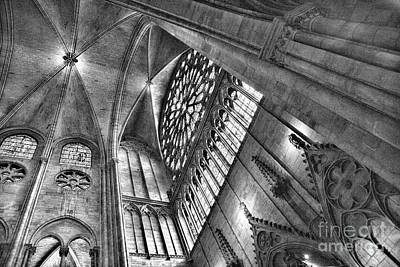 Photograph - Ceiling View Notre Dame Black White  by Chuck Kuhn